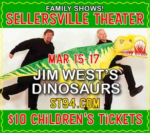 Get ready to hang out with Stegosaurus and Tyrannosaurus Rex as Jim West brings the age of the dinosaurs to life at the Sellersville Theater, March 15-18! Enjoy prehistory as he mixes storytelling with the latest dinosaur discoveries, dinopuppet making ideas and a rich musical score of Mozart, Beethoven, Mahler, Stravinsky and Prokofiev. Jim West developed and performed the shadow puppets for the Metropolitan Opera, appeared on